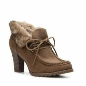 Audrey Brooke Rylee Oxfords Fur Lined Stacked Heel